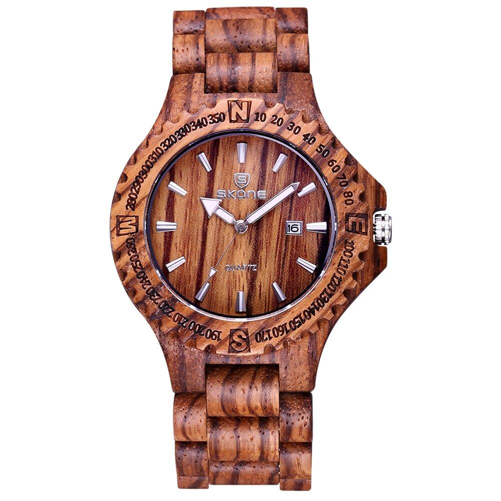 Skone 2017 nouveauté hommes Montre en bois hommes hommes calendrier Quartz Montre en bois marque de luxe montres de sport pour Homme Montre Homme