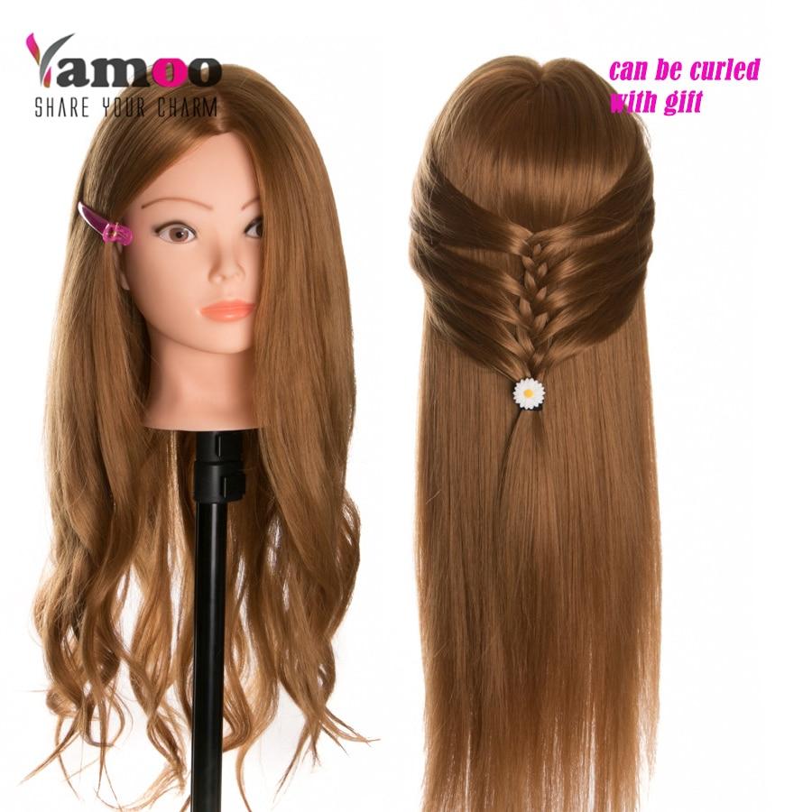 Cabeza de maniquí 40% Muñecas con cabeza de cabello humano de entrenamiento para peluqueros de color rubio cabeza de peinado profesional se pueden rizar