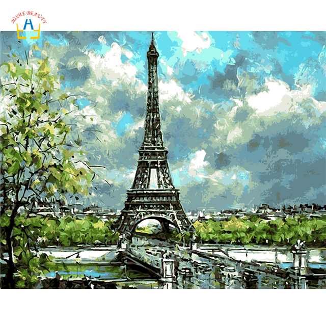 Diy Digital Painting Drawing By Numbers on Canvas Wall ... Eiffel Tower Painting Landscape