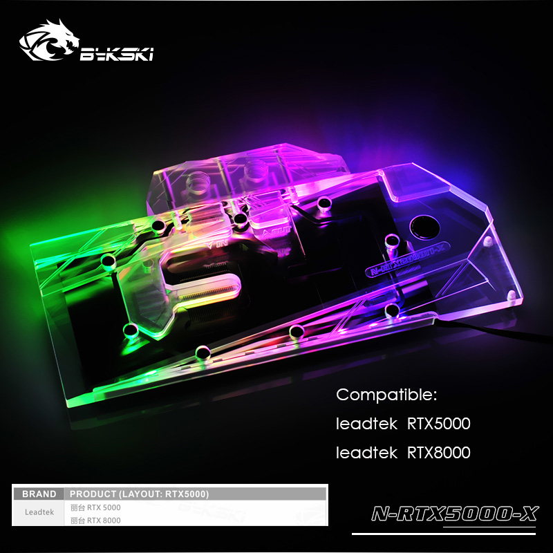 Bykski gpu cooler for leadtek RTX5000 8000 Watercooling Full Cover graphics card gpu water block sync mainboard N RTX5000 X in Fans Cooling from Computer Office
