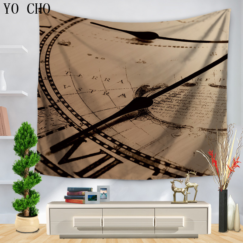 Tapestry Confident Yo Cho Classical Horologe Tapestry Retro Home Decor Tapestry Wall Hanging Arazzo Indian Modern Tapestry Bath Towel Yoga Mat Dorm Dependable Performance Carpets & Rugs