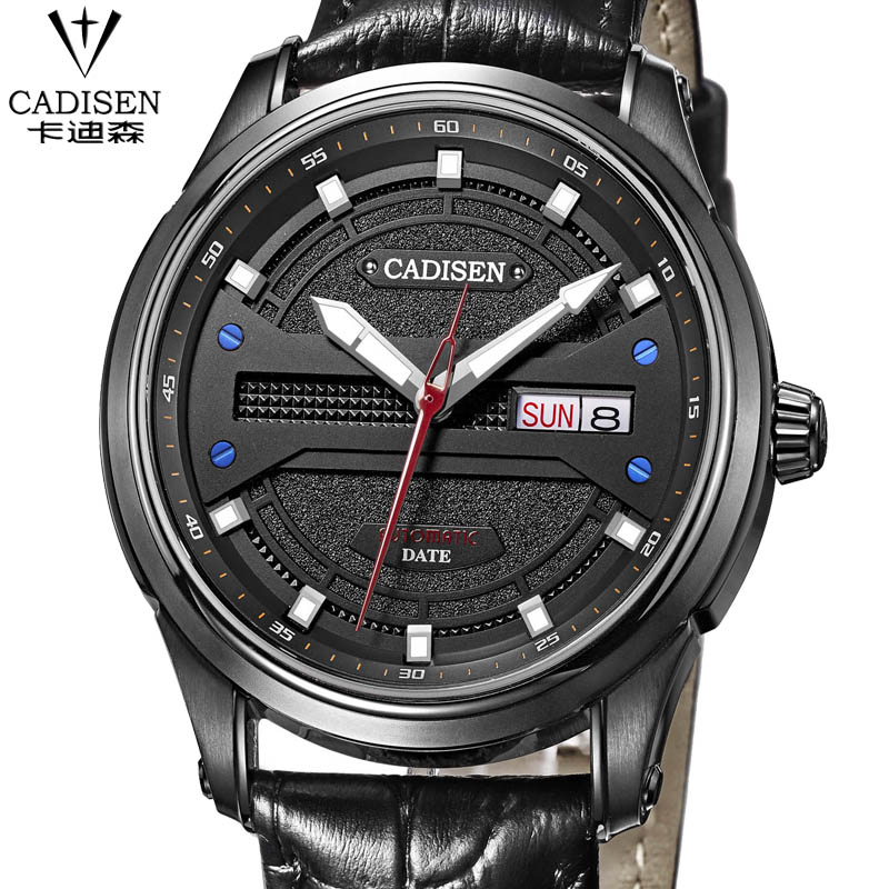 CADISEN Famous Brand Men Watches Top Brand Luxury Business mechanical-watch Clock Leather Strap Male Wristwatch Relogio Masculio famous brand fngeen role luxury mechanical watch men sport automatic watches self wind nylon strap wristwatch male clock sports
