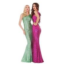 Mint Green Pailletten Abendkleid Sleeveless Ausschnitt Zurück Lange Metallischen Sexy Frauen Formale Kleid Benutzerdefinierte Größe