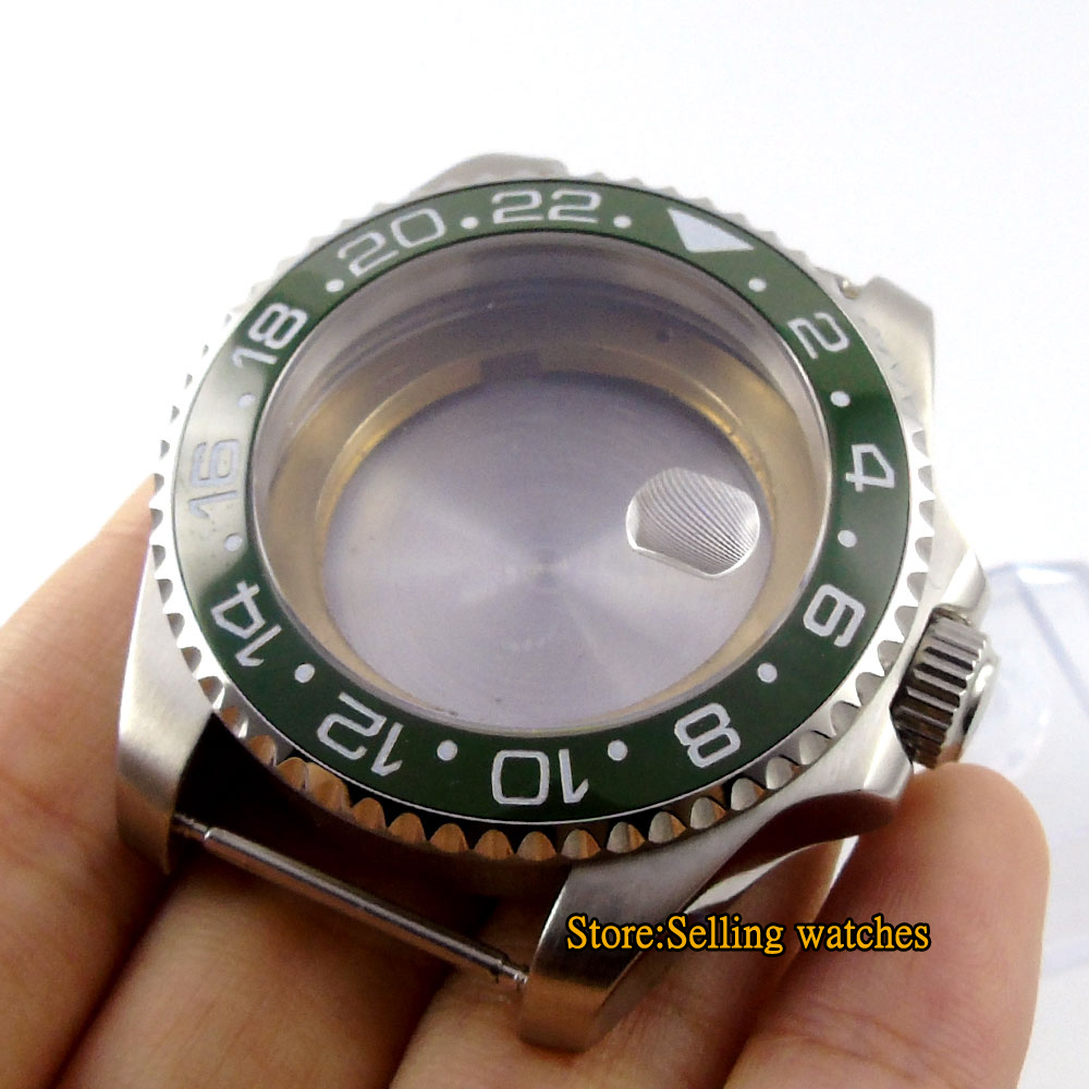43mm sapphire glass green ceramic Watch Case fit ETA 2824 2836 MOVEMENT C089 elephone w2 bluetooth 4 0 smart watch rhonda 762 movement sapphire crystal glass ip53 fit tracker for smartphone