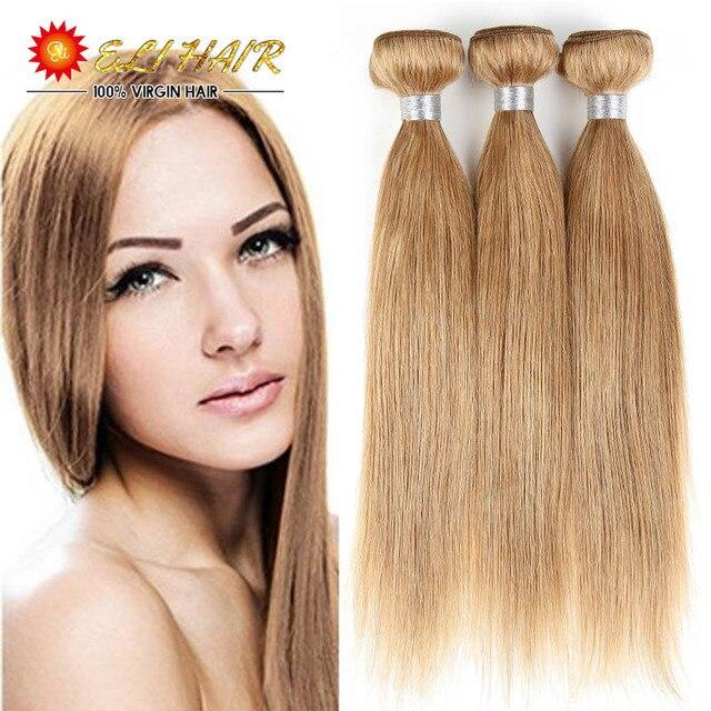 Blonde Brazilian Virgin Hair Straight 3 Bundles Honey Blonde Human