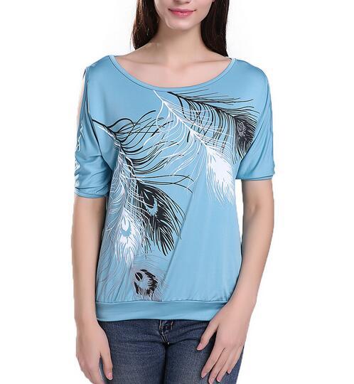 HTB1Go.3QpXXXXXSXFXXq6xXFXXXF - Summer Women Feather Printed T-shirts O- neck Strapless Shirts Off Shoulder