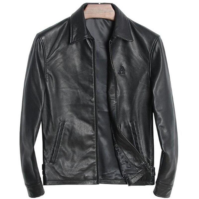 Genuine Leather Jacket Men Vintage Winter Spring 100% Natural Sheepskin Embroidery Letter A Male Fashion Zipper Bomber Jacket