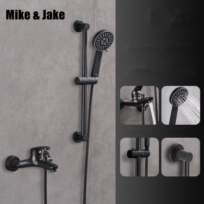 Bathroom black simple shower mixer set with shower bar bath wall bathtub mixer set with hand shower black orb shower faucet sognare new wall mounted bathroom bath shower faucet with handheld shower head chrome finish shower faucet set mixer tap d5205