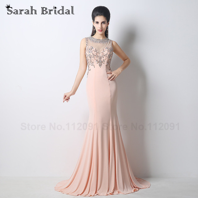 f238b8c79d99b Beading Illusion Back Prom Dresses Mermaid Long 2017 Hot Sale Nude Blush  Lycra Sweetheart Women Party Gowns