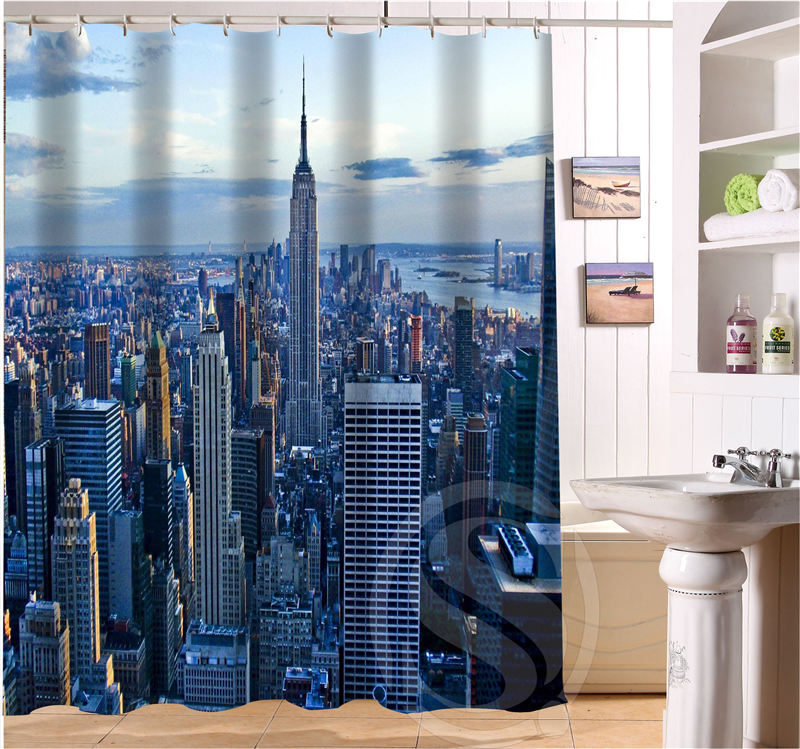 Custom Waterproof Bath Curtain New York City Shower For Bathroom Free Shipping SQ0623 WRC776 In Curtains From Home Garden On