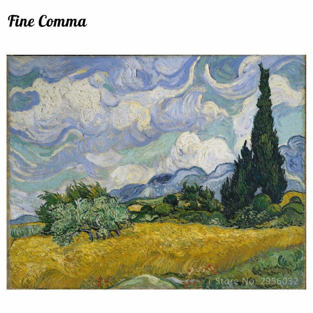 Pšeničné pole s cypřiši v červenci 1889 v New Yorku od Vincenta van Gogha Ručně malované Reprodukce olejomalby Replika Art Repro Copy