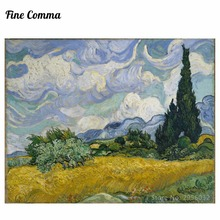 A Wheatfield with Cypresses July 1889 New York by Vincent van Gogh Hand painted Oil Painting Reproduction Replica Art Repro Copy
