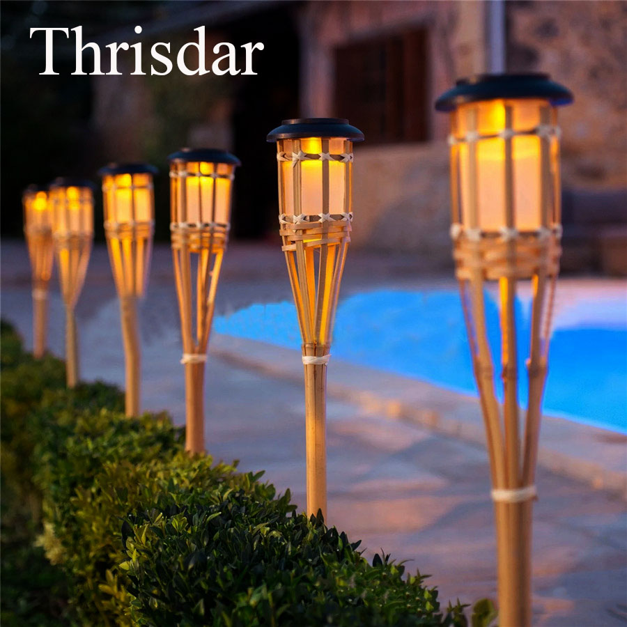 Thrisdar 10PCS Solar Panel LED Spike Spot light Handmade Solar Bamboo Torch Light Outdoor Landscape Yard