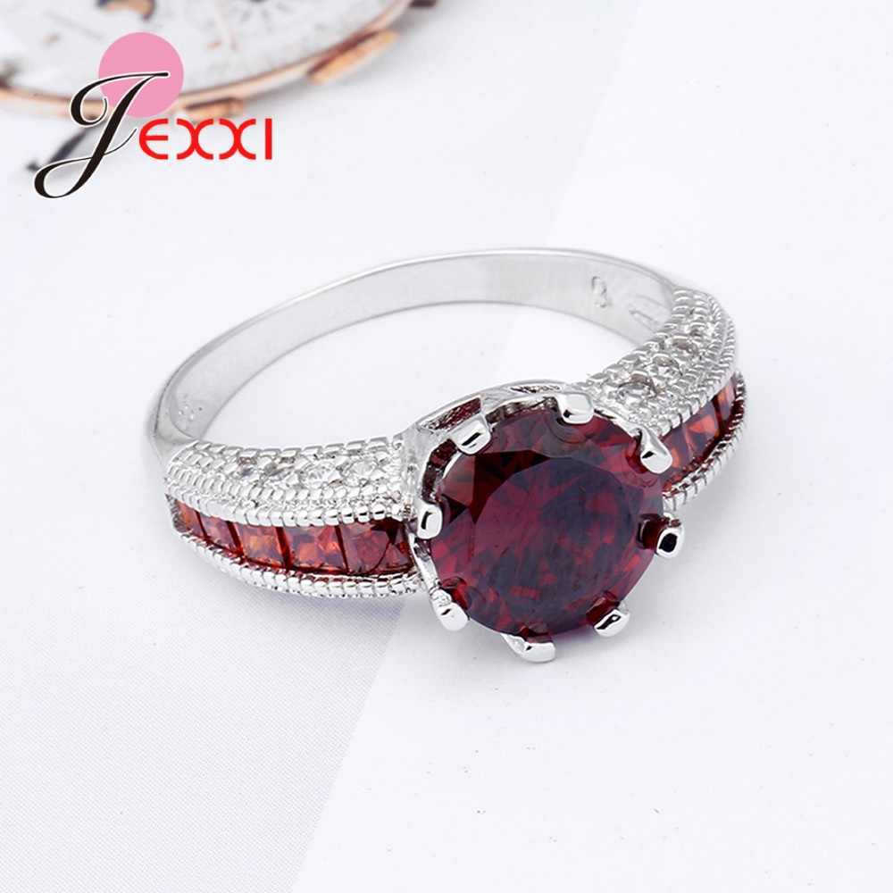 ใหม่มาถึง Shinning Big Red Cubic Zirconia Great Elegant 925 เงินสเตอร์ลิงแหวนครบรอบแหวนผู้หญิง