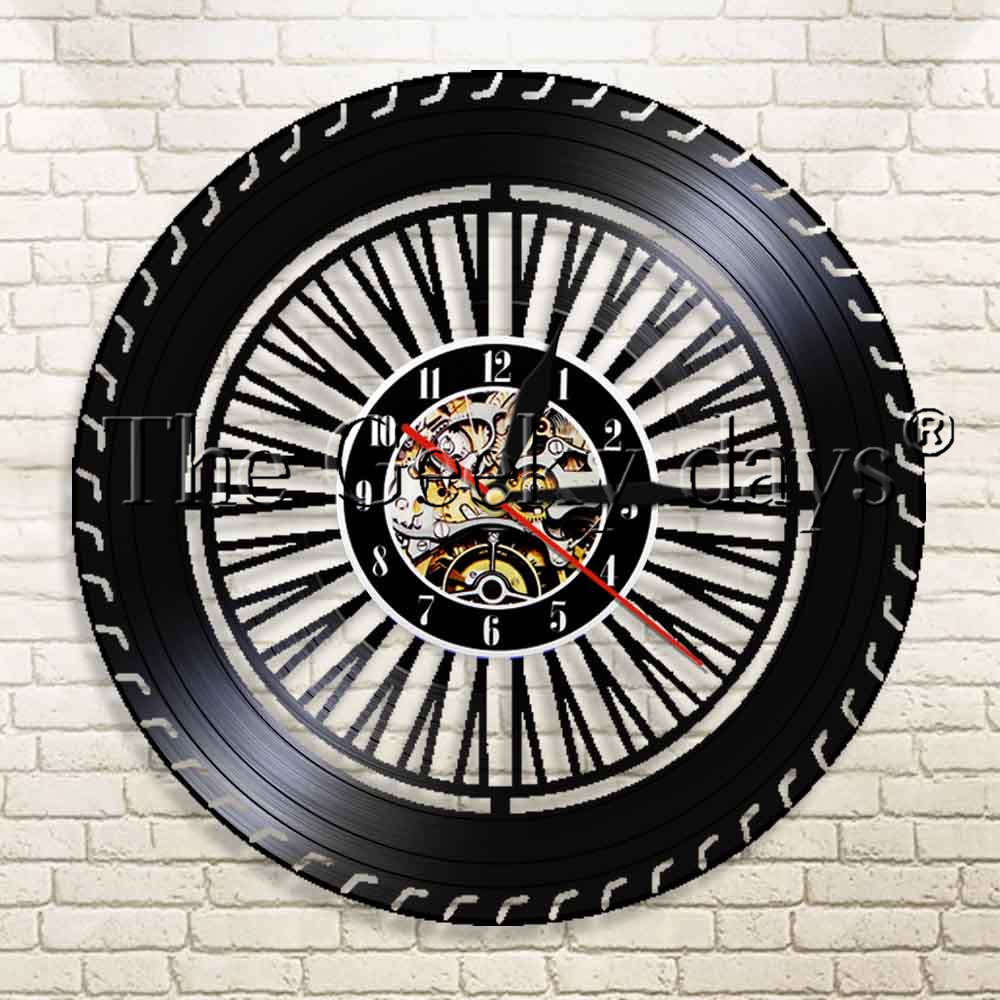 1Piece Mechanic Service <font><b>Car</b></font> <font><b>Wheel</b></font> Vinyl Record Wall <font><b>Clock</b></font> <font><b>Car</b></font> Service Garage Repair Tools Sign Decor Watch Time Wall <font><b>Clock</b></font> image