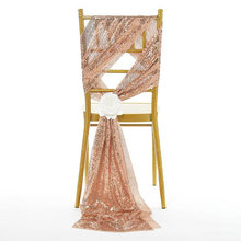 New Arrival 5pcs/lot 30*275cm Embroidered 3mm Dense Gold/Silver Sequin Chair Sash For Wedding Party Chiavari Chair Decoration(China)