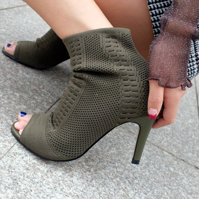 Sexy Knitting Ankle Boots Open Toe Thin High Heels Shoes Woman ...