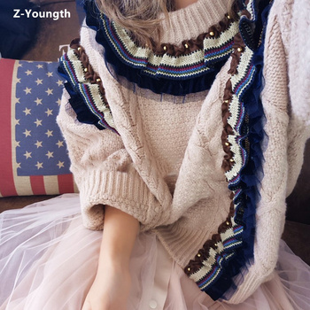 Thick Loose Geometric Pattern Beading Knitting Sweater