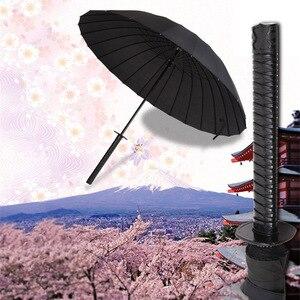 Image 5 - الإبداعية مقبض طويل كبير يندبروف سيف ساموراي مظلة اليابانية النينجا تشبه الشمس المطر مستقيم المظلات التلقائي المفتوحة