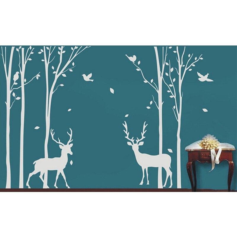 Livraison gratuite en vente personnalisé cerf bouleau arbre vinyle Sticker Mural Art Mural décor maison nouveau 180x281 cm