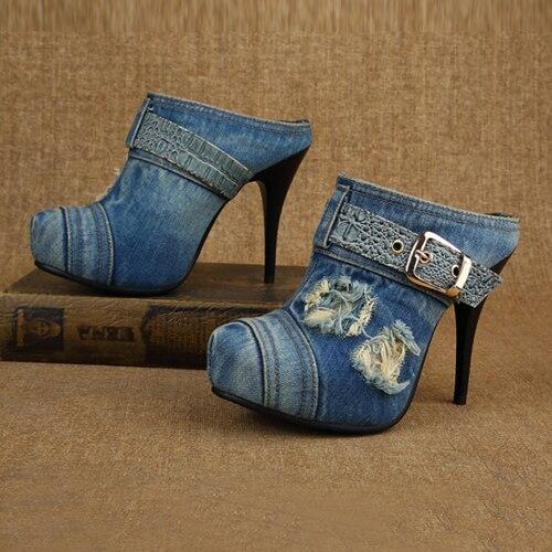 Corto Sexy Bombas Mujer Chaussure Zapatos Donna Scarpe black Slingback Blue Femme Botas Sandalias Casual Womans Lona Denim 0qxAxIF