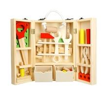 BOHS Carpinteiro Construção Caixa de Ferramentas Menino da Criança de Madeira Brinquedo Pretend Play Kits Modelo de Construção, 30*20*8 cm