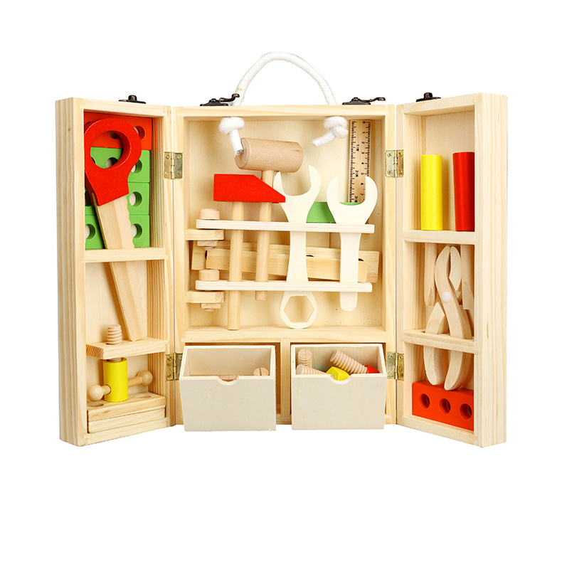 BOHS Wooden Child Carpenter Construction Tool Box Boy Pretend Play Model Building Kits Toy, 30*20*8cm ...