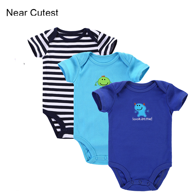 3pcs/lot 2015 Baby Boys Girls Clothes Next Cute Infant Clothes Animal 100% Cotton Newborn Baby Rompers Baby Clothing Set