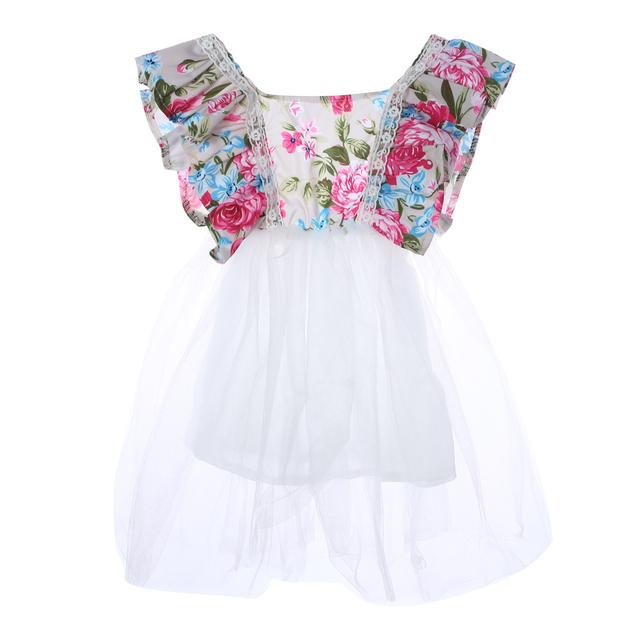 c9568bc9e 100% Cotton Newborn Toddler Baby Girls Floral Dress Party Ball Gown Lace  Tutu Formal Dresses