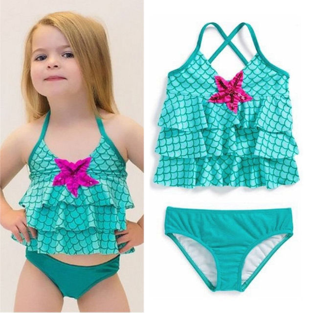 92efb33482748 Baby Girls Halter Swimwear Bikini Set Mermaid Bathing Suit Kids Swimsuit  Swimming Costume