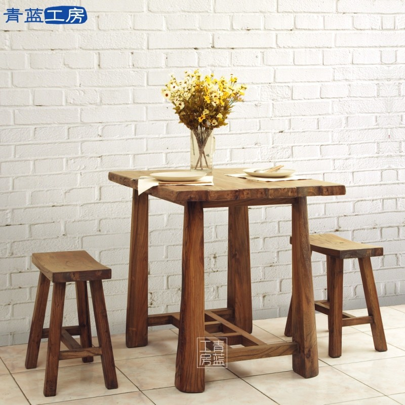 Two Small Dining Table Wood Bit Old American Elm Furniture, Rustic  Restaurant Versatile New Value In Nail Tables From Furniture On  Aliexpress.com | Alibaba ...