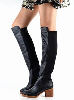 Akamatsu Black Orange Stretch Fabric Patchwork Women Long Booties Knee High Slip On Boots Chunky Heels Round Toe Women Shoes