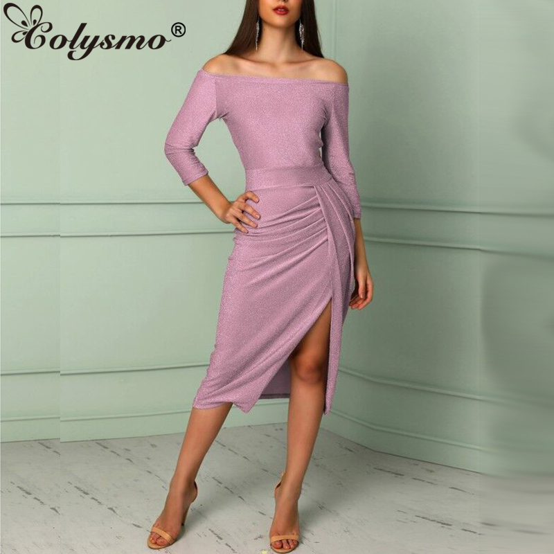 Detail Feedback Questions about Colysmo Shiny Winter Women Dress Sexy Off  Shoulder Bodycon Dress Elegant Party Dresses 3 4 Sleeve Front Split Midi  Dress ... 7adae067518e