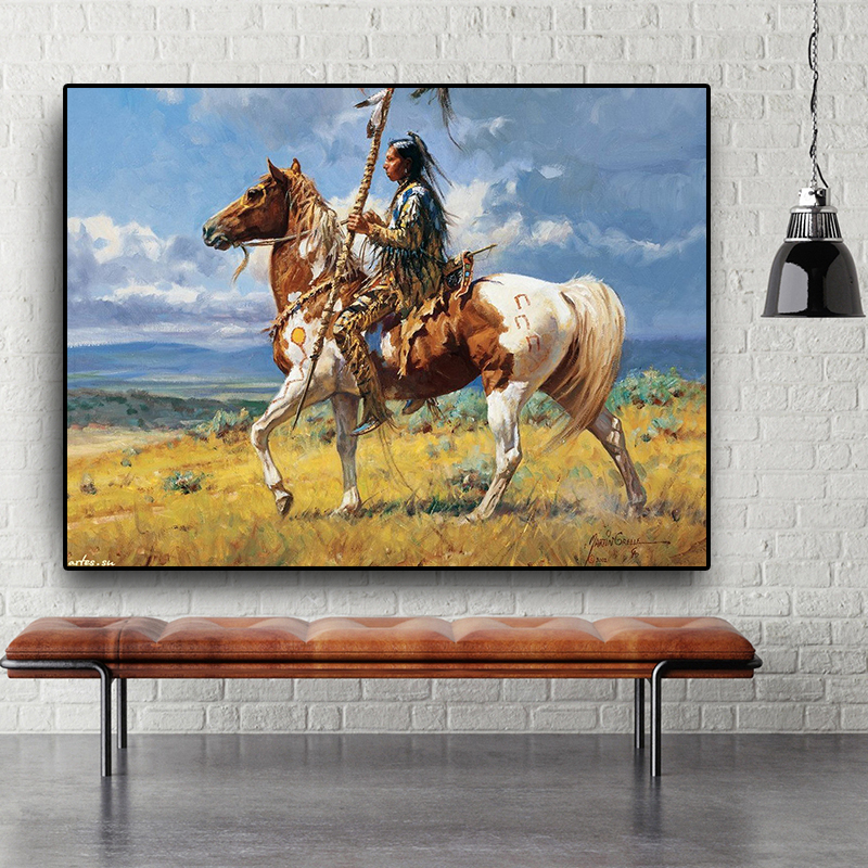Оригинальная индийская фигурка лошади, абстрактная картина маслом на холсте, постеры и принты Cuadros, Настенная картина для гостиной