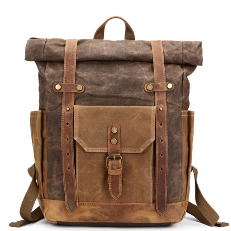 Brand Vintage Military Backpack Oil Wax Canvas Travel Men's Backpack Large Capacity Waterproof Rucksack Casual Daypacks Mochila