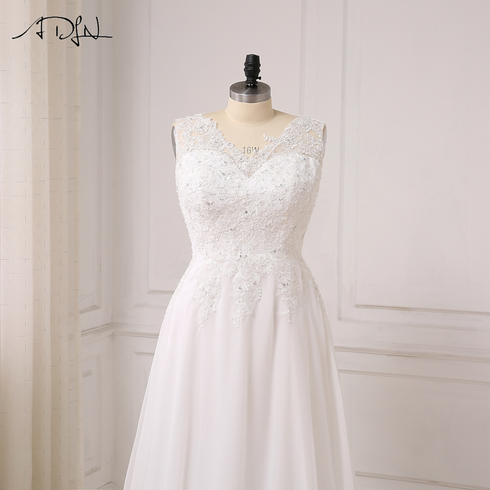 ADLN I lager Plus Storlek Bröllopsklänning Vit / Ivory Cap Sleeve - Bröllopsklänningar - Foto 5