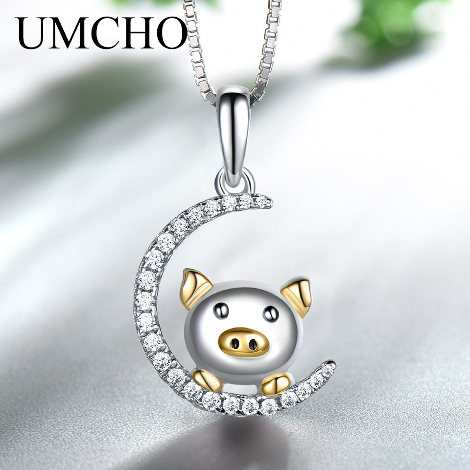 UMCHO Real 925 Sterling Silver Necklaces & Pendants Cute Chinese Year Of The Pig Gift For Girl Romantic Gift Fine JewelryUMCHO Real 925 Sterling Silver Necklaces & Pendants Cute Chinese Year Of The Pig Gift For Girl Romantic Gift Fine Jewelry