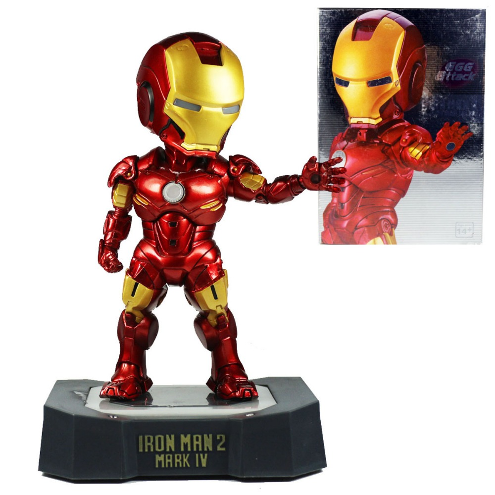 Tony Stark 2 EGG Attack Mark VI MK 6 PVC Action Figure with LED Light 7 Free Shipping super hero iron man 3 mark 42 tony stark set cute 10cm pvc action figure collection model toy 349 free shipping 324