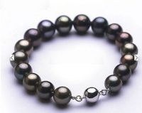 FREE SHIPPING HOT sell new Style >>>> Stunning7.5 89 10mm Natural Tahitian genuine black redish round pearl bracelet
