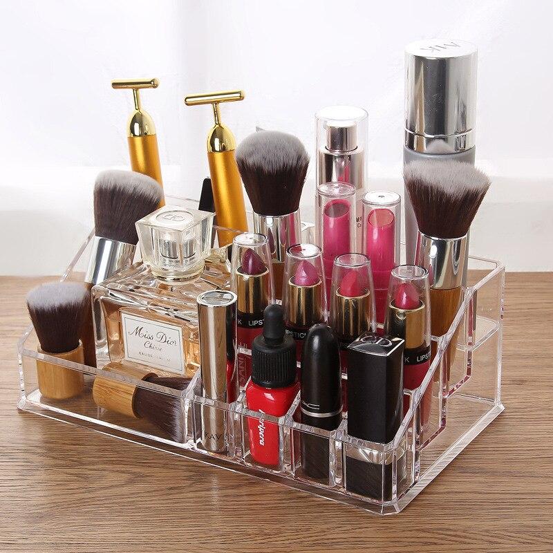 New Fashion Desktop Transparent Multi-cosmetics Storage Box Lipstick Nail Polish Cosmetic Tool Sorting Box Makeup Organizer