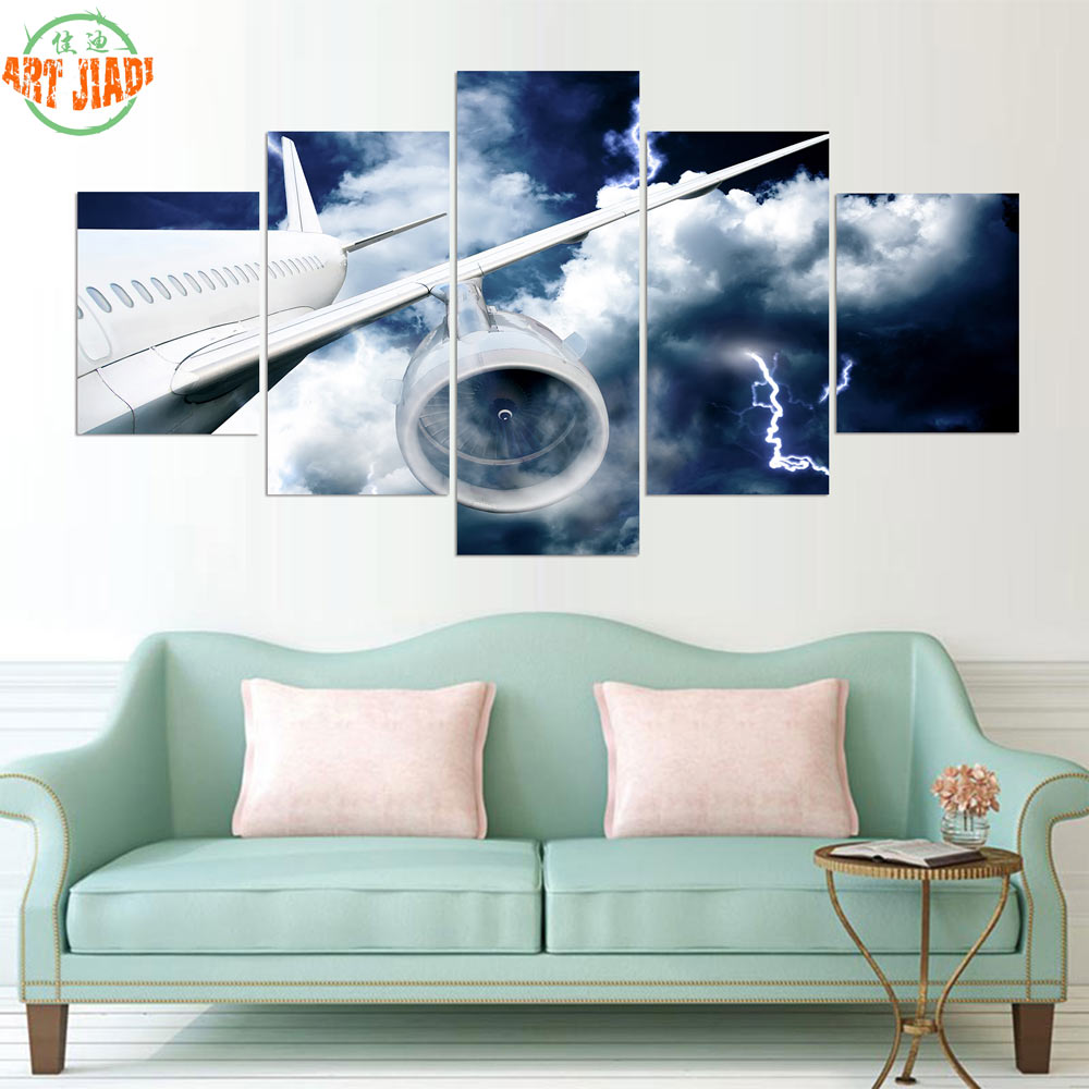 Us 10 88 3 4 5 Piece Canvas Art Air Plane Movement During Thunderstorm Canvas Paintings Decorations For Home Wall Art Prints Canvas B337 In Painting