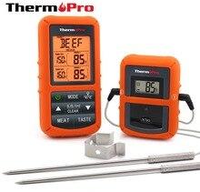 الأصلي ثيرموبرو TP 20S عن بعد اللاسلكية الرقمية BBQ ، ميزان حرارة فرن المنزل استخدام مسبار من الفولاذ المقاوم للصدأ شاشة كبيرة مع الموقت