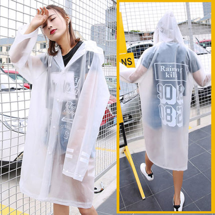Portable Clear Disposable Raincoat Transparent Waterproof Womens Rainwear Poncho Lluvia Mujer Fashion Rain Coats Ladies 40YY0028