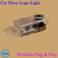 OCSION 2pcs LED Car Door Welcome Light For Volkswagen VW Touareg 2004 2010 Wireless 3D Logo