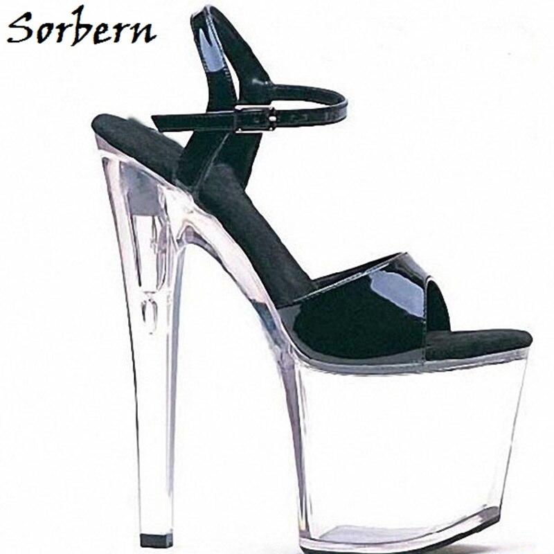 Sorbern Perspex Heel Sandals Custom Color Ankle Strap Summer Designer Brand Platform Women Shoes Fashion Open Toe Sandals Size 8