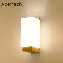 Apextech Lampada Da Parete In Legno Moderno Nordic Stile E26 E27 Lampadina Luci da parete con Diffusore In Vetro Satinato + Comodino In Legno luce di Notte per la Casa