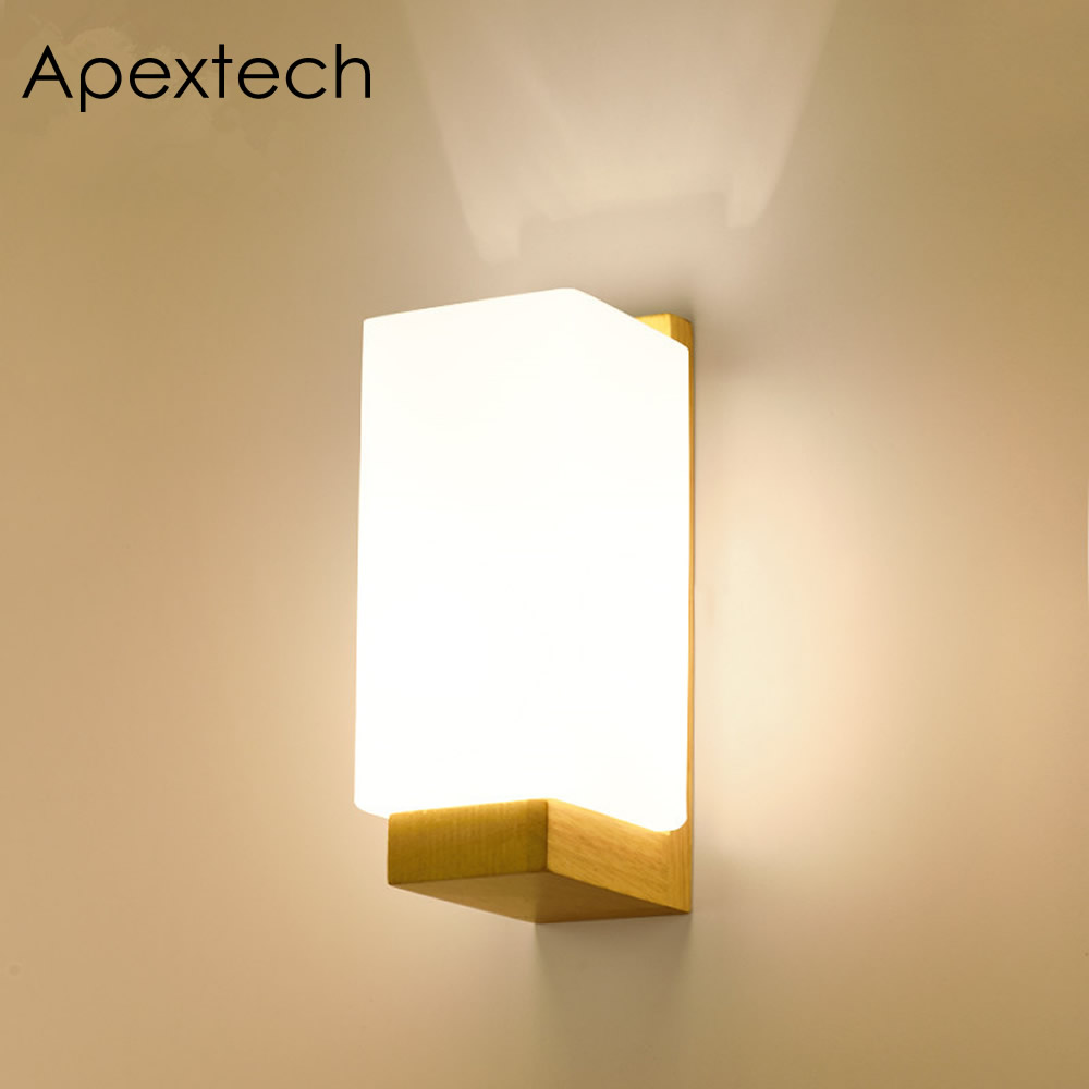 Apextech Wooden Wall Lamp Modern Nordic Style E26 E27 Bulb wall Lights Frosted Glass Shade+Wood Bedside Night light For Home