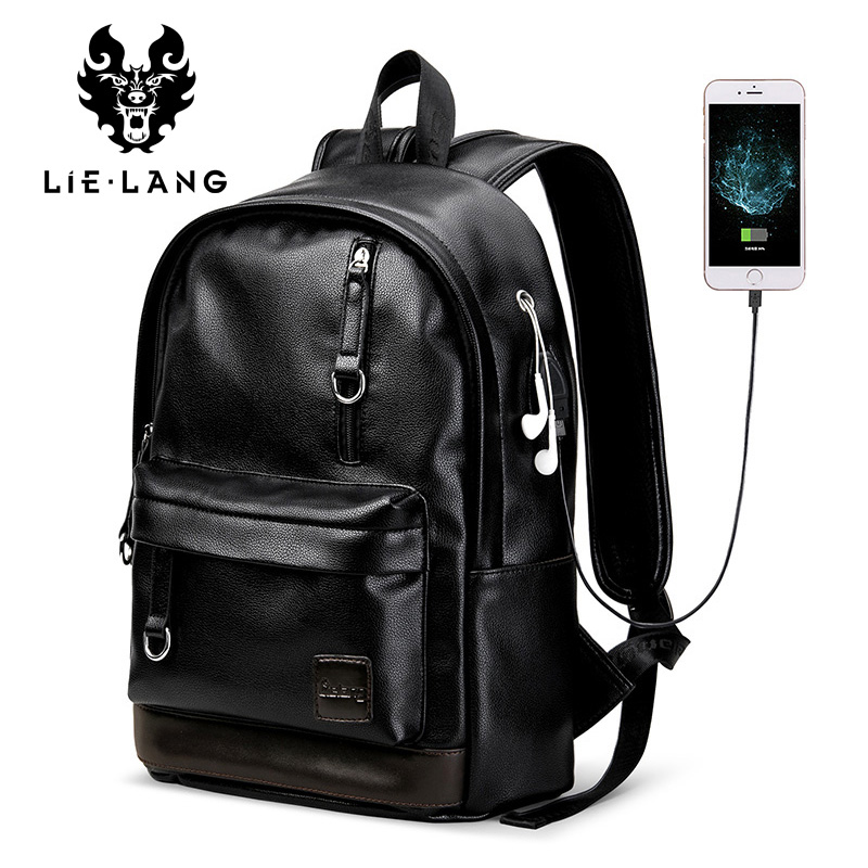 LIELANG New Leather Backpack <b>Men Laptop Backpacks</b> External ...