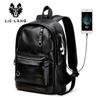 LIELANG New Leather Backpack Men Laptop Backpacks External Usb Charge Antitheft Backpack For Men Male Waterproof Bag Rucksack