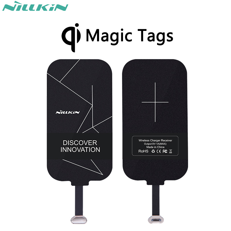 """Nillkin Magic Tags"" QI belaidis įkrovimo imtuvas ""Micro USB"" / C tipo adapteris, skirtas ""iPhone 5S SE 6 6S 7 Plus"", ""Mi5 Mi5s Plus Mate 9"""